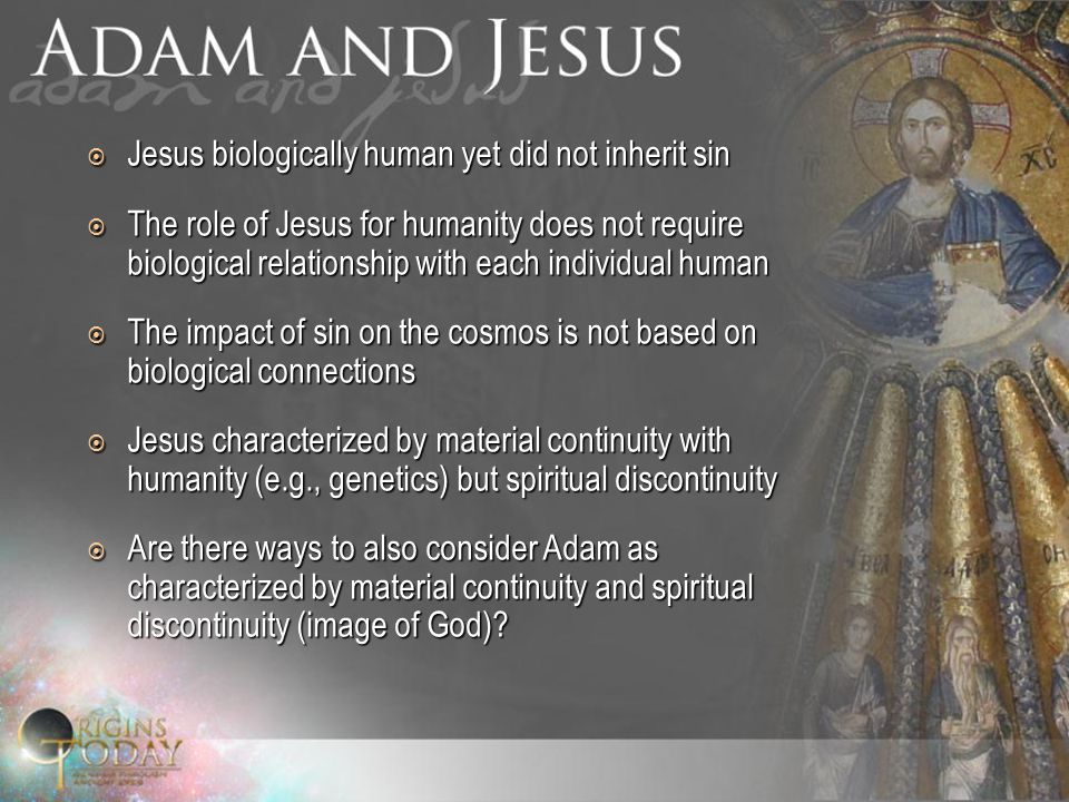  Jesus biologically human yet did not inherit sin  The role of Jesus for humanity does not require biological relationship with each individual human  The impact of sin on the cosmos is not based on biological connections  Jesus characterized by material continuity with humanity (e.g., genetics) but spiritual discontinuity  Are there ways to also consider Adam as characterized by material continuity and spiritual discontinuity (image of God)