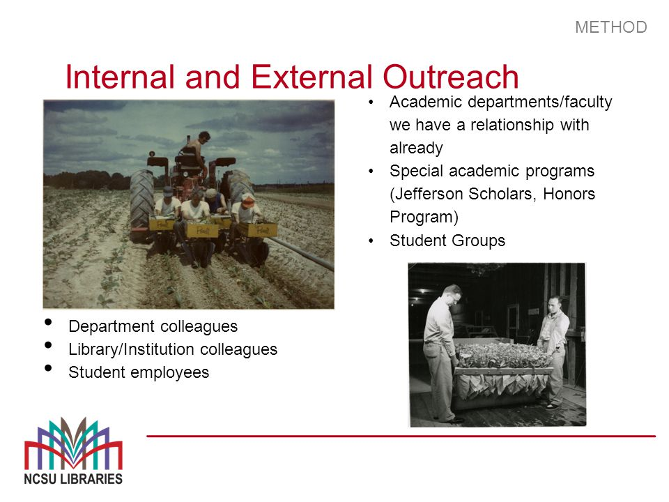 METHOD Internal and External Outreach Department colleagues Library/Institution colleagues Student employees Academic departments/faculty we have a relationship with already Special academic programs (Jefferson Scholars, Honors Program) Student Groups