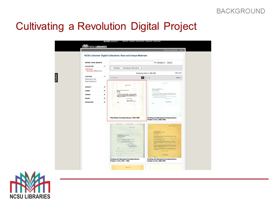 BACKGROUND Cultivating a Revolution Digital Project