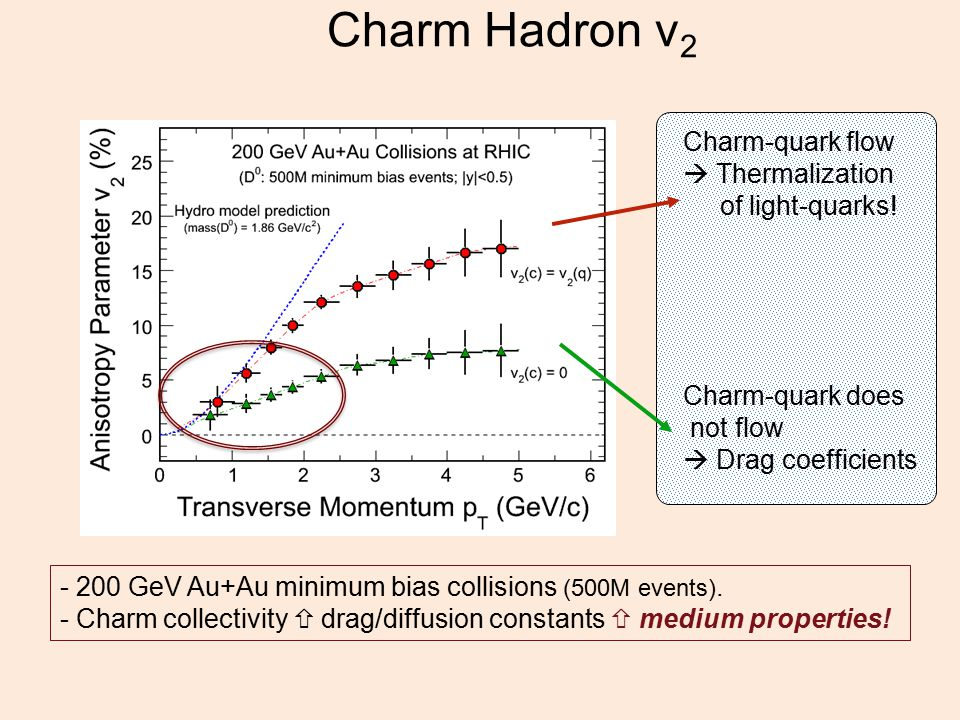 Charm Hadron v 2 - 200 GeV Au+Au minimum bias collisions (500M events).