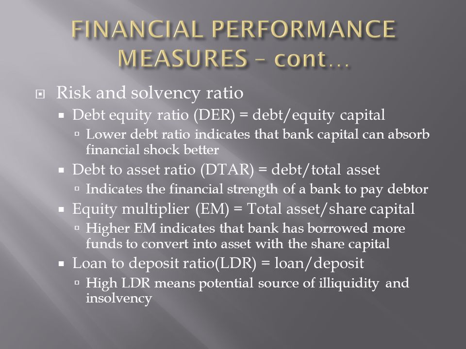  Risk and solvency ratio  Debt equity ratio (DER) = debt/equity capital  Lower debt ratio indicates that bank capital can absorb financial shock better  Debt to asset ratio (DTAR) = debt/total asset  Indicates the financial strength of a bank to pay debtor  Equity multiplier (EM) = Total asset/share capital  Higher EM indicates that bank has borrowed more funds to convert into asset with the share capital  Loan to deposit ratio(LDR) = loan/deposit  High LDR means potential source of illiquidity and insolvency