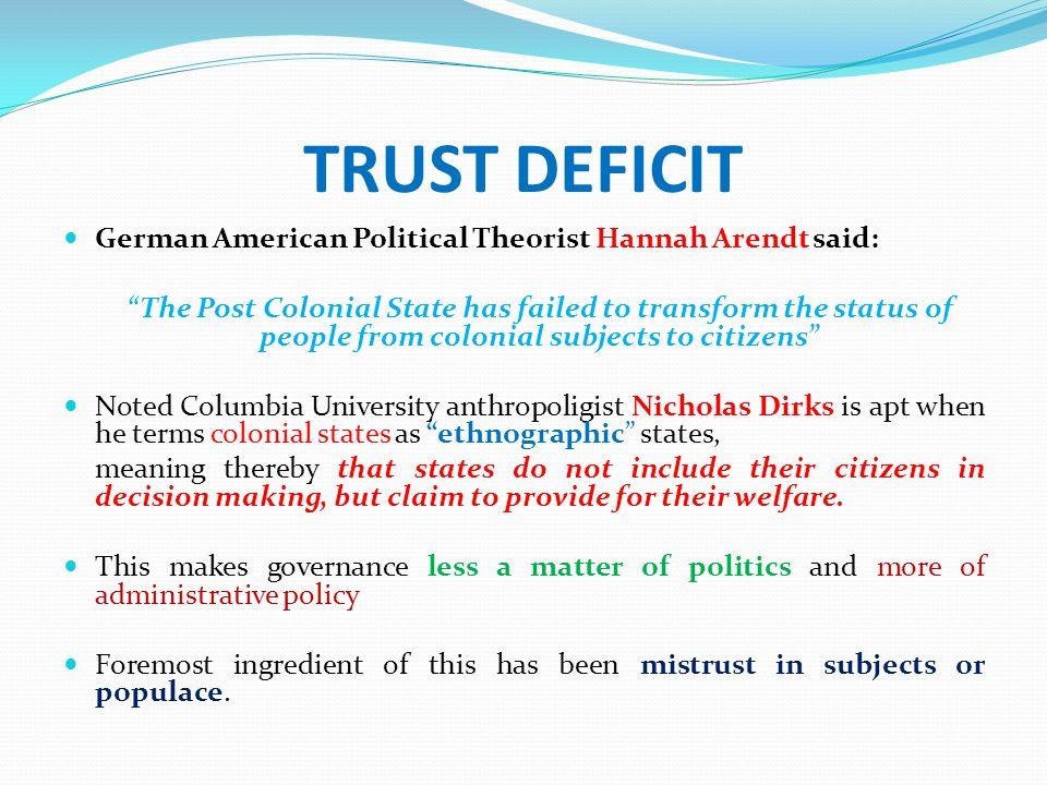 Trust Deficit ( Contd.) Baseline scenario: Trust deficit between government towards citizen and vice versa.