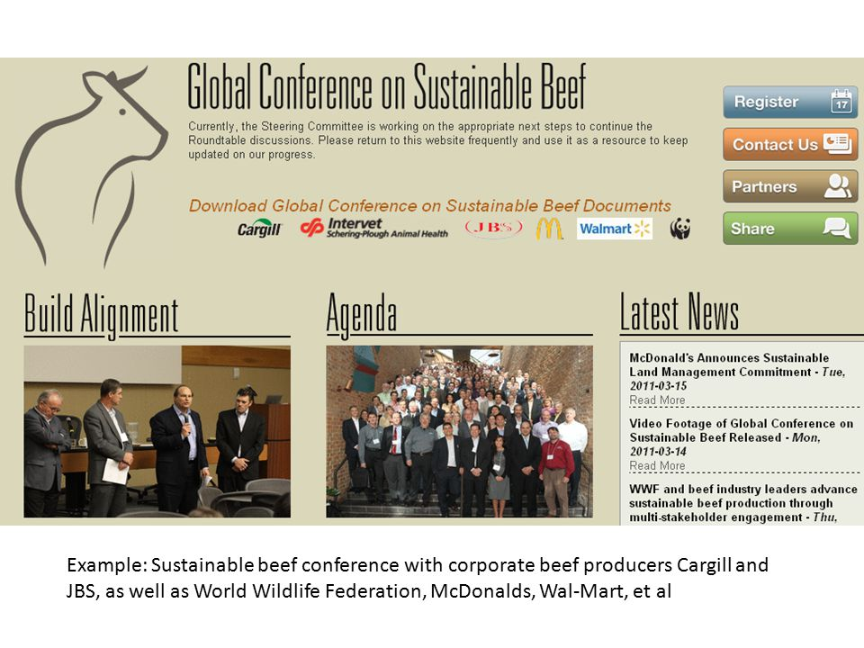 Example: Sustainable beef conference with corporate beef producers Cargill and JBS, as well as World Wildlife Federation, McDonalds, Wal-Mart, et al