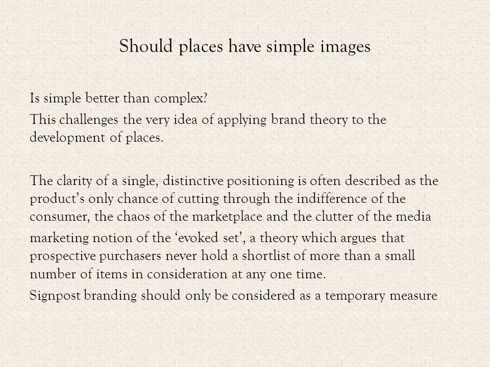 Should places have simple images Is simple better than complex.