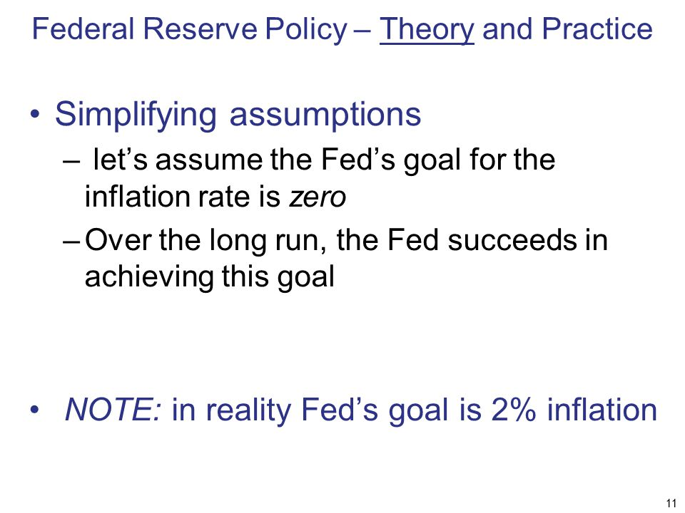 Federal Reserve Policy – Theory and Practice Simplifying assumptions – let's assume the Fed's goal for the inflation rate is zero –Over the long run,