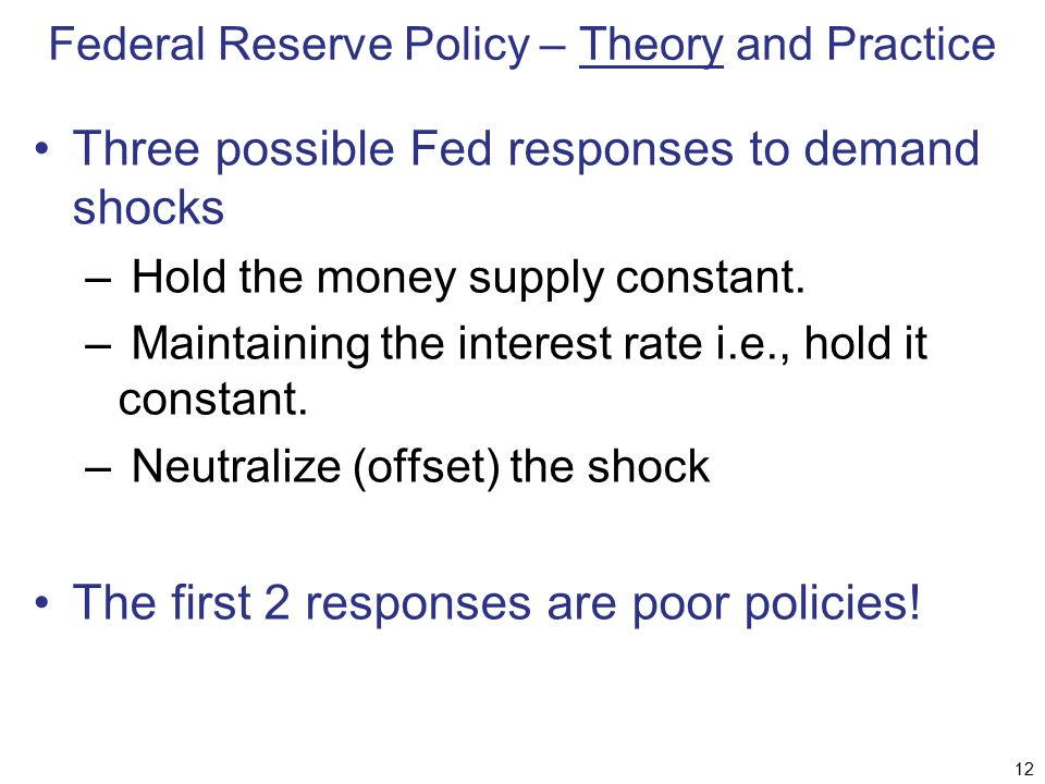 Federal Reserve Policy – Theory and Practice Three possible Fed responses to demand shocks – Hold the money supply constant. – Maintaining the interes