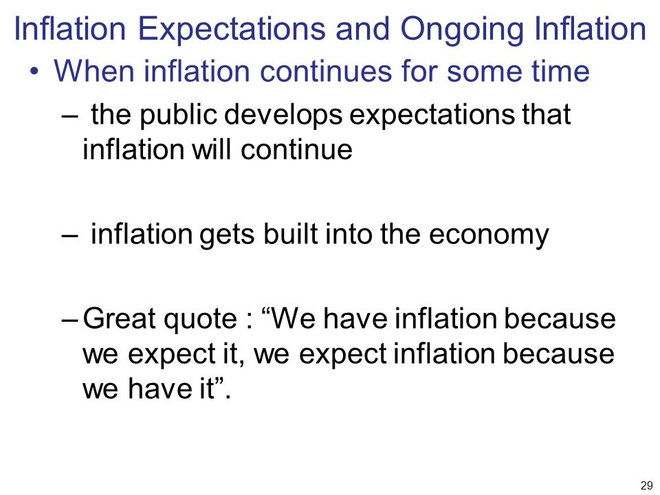 Inflation Expectations and Ongoing Inflation When inflation continues for some time – the public develops expectations that inflation will continue –