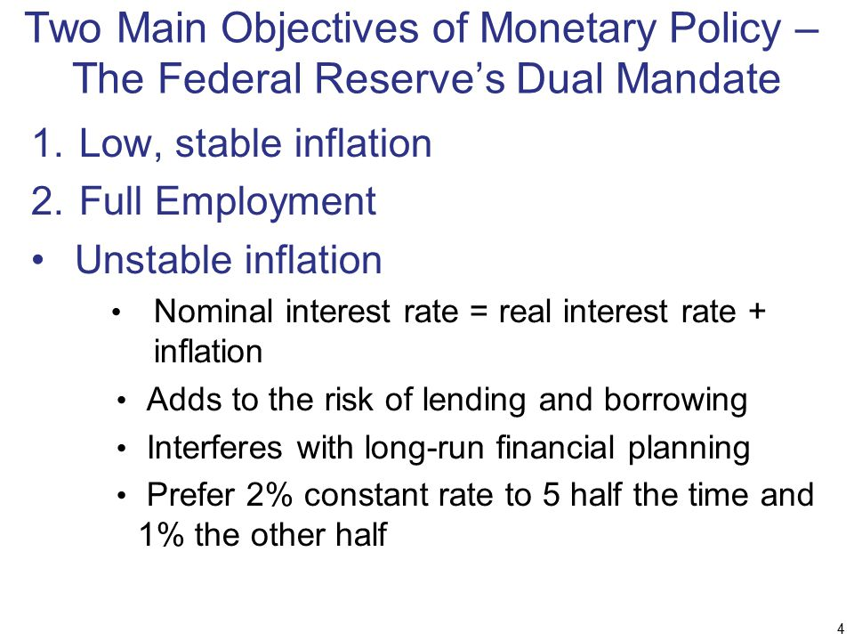 Two Main Objectives of Monetary Policy – The Federal Reserve's Dual Mandate 1.Low, stable inflation 2.Full Employment Unstable inflation Nominal inter