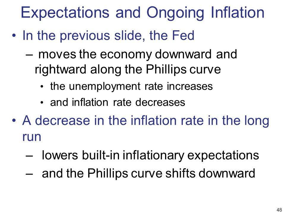Expectations and Ongoing Inflation In the previous slide, the Fed – moves the economy downward and rightward along the Phillips curve the unemployment