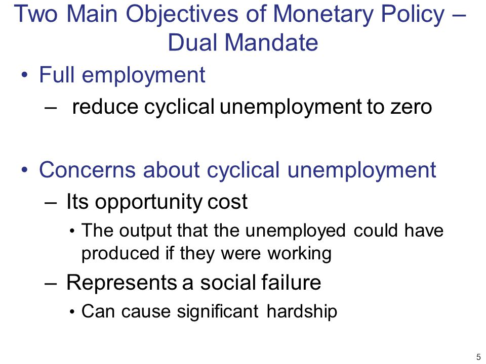 The Objectives of Monetary Policy Natural rate of unemployment – unemployment rate when there is no cyclical unemployment Measured as sum of frictional and structural unemployment The Fed can not affect the natural rate – determined by supply and demand in the labor market 6