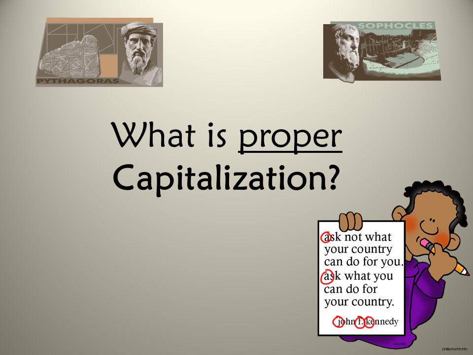 What is proper Capitalization?
