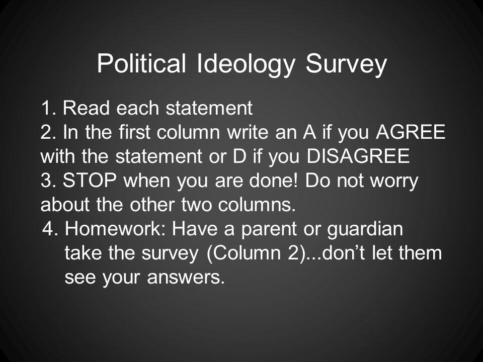 Political Ideology Survey 1.Read each statement 2.