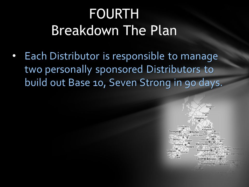 Each Distributor is responsible to manage two personally sponsored Distributors to build out Base 10, Seven Strong in 90 days. Each Distributor is res