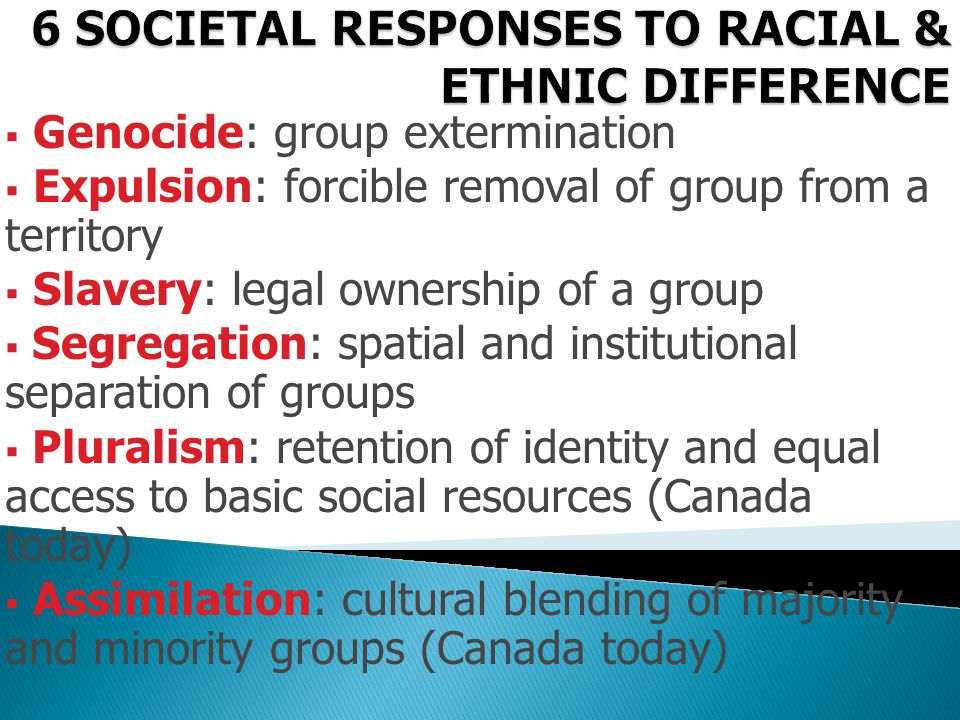  Genocide: group extermination  Expulsion: forcible removal of group from a territory  Slavery: legal ownership of a group  Segregation: spatial a