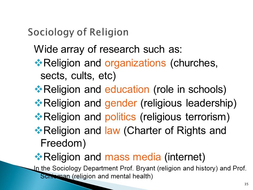 Wide array of research such as:  Religion and organizations (churches, sects, cults, etc)  Religion and education (role in schools)  Religion and g