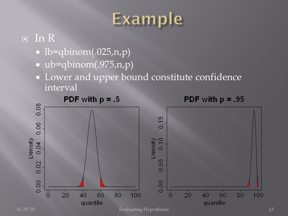 8/29/03Evaluating Hypotheses13  In R  lb=qbinom(.025,n,p)  ub=qbinom(.975,n,p)  Lower and upper bound constitute confidence interval