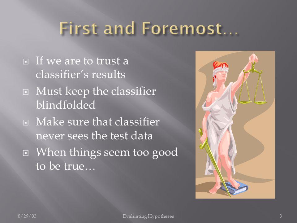 8/29/03Evaluating Hypotheses4  Confusion Matrix Predicted Actual classposneg postrue posfalse neg negfalse postrue neg