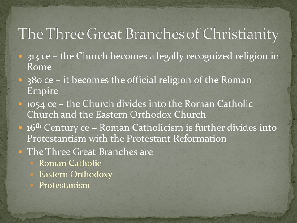 313 ce – the Church becomes a legally recognized religion in Rome 380 ce – it becomes the official religion of the Roman Empire 1054 ce – the Church d