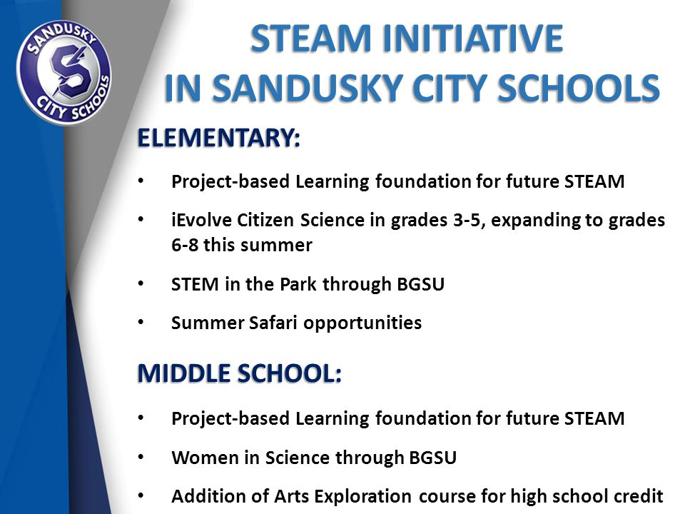 STEAM INITIATIVE IN SANDUSKY CITY SCHOOLS IN SANDUSKY CITY SCHOOLS ELEMENTARY: Project-based Learning foundation for future STEAM iEvolve Citizen Science in grades 3-5, expanding to grades 6-8 this summer STEM in the Park through BGSU Summer Safari opportunities MIDDLE SCHOOL: Project-based Learning foundation for future STEAM Women in Science through BGSU Addition of Arts Exploration course for high school credit