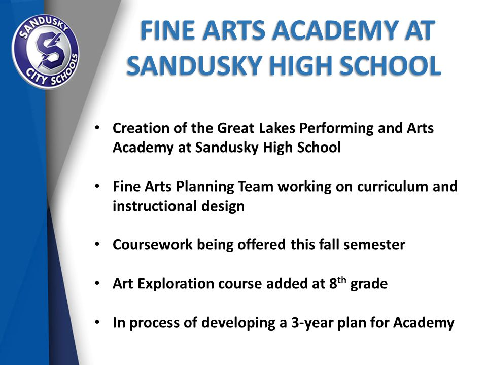 FINE ARTS ACADEMY AT SANDUSKY HIGH SCHOOL FINE ARTS ACADEMY AT SANDUSKY HIGH SCHOOL Creation of the Great Lakes Performing and Arts Academy at Sandusky High School Fine Arts Planning Team working on curriculum and instructional design Coursework being offered this fall semester Art Exploration course added at 8 th grade In process of developing a 3-year plan for Academy