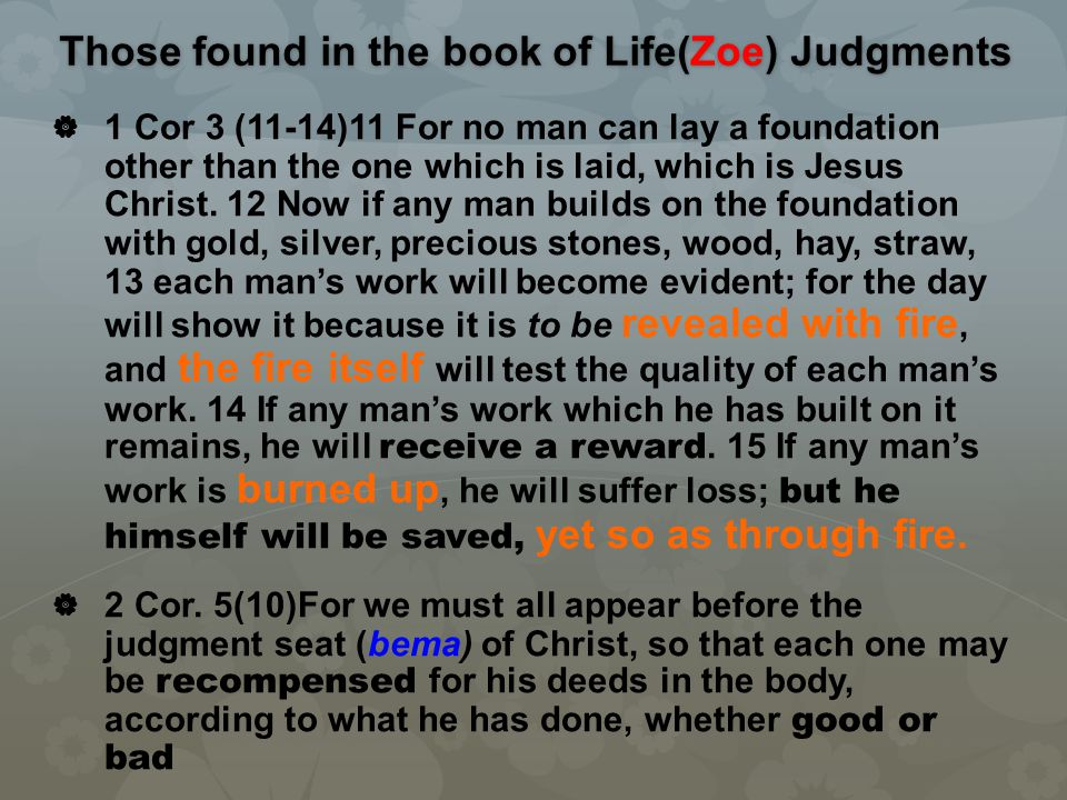 Those found in the book of Life(Zoe) Judgments   1 Cor 3 (11-14)11 For no man can lay a foundation other than the one which is laid, which is Jesus