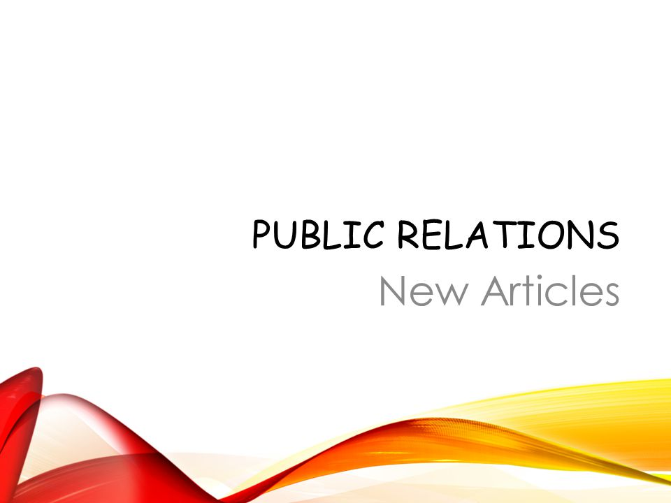 PUBLIC RELATIONS New Articles