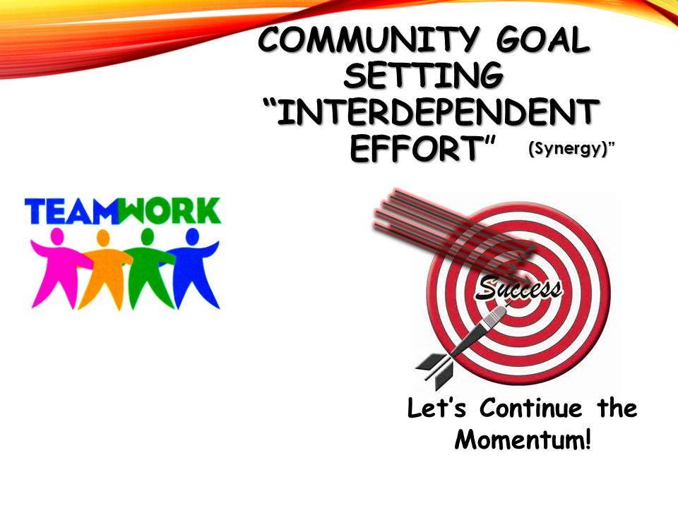"COMMUNITY GOAL SETTING ""INTERDEPENDENT EFFORT COMMUNITY GOAL SETTING ""INTERDEPENDENT EFFORT"" (Synergy)"" Let's Continue the Momentum!"