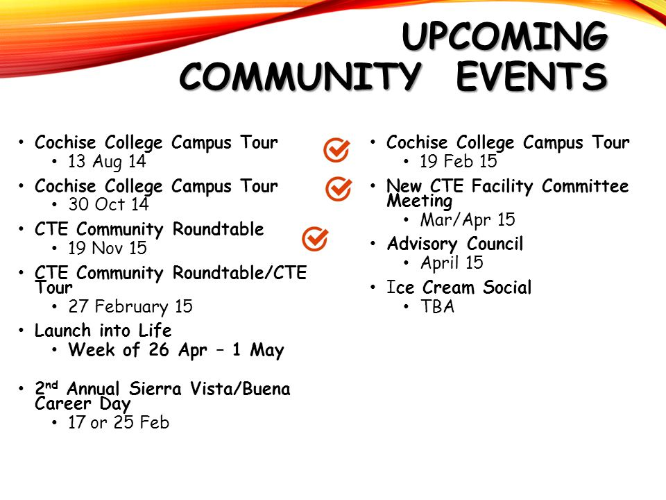 UPCOMING COMMUNITY EVENTS Cochise College Campus Tour 13 Aug 14 Cochise College Campus Tour 30 Oct 14 CTE Community Roundtable 19 Nov 15 CTE Community