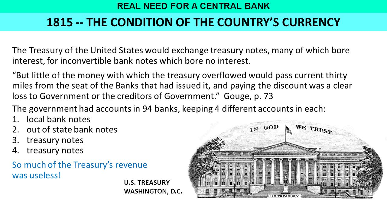 REAL NEED FOR A CENTRAL BANK The Treasury of the United States would exchange treasury notes, many of which bore interest, for inconvertible bank notes which bore no interest.