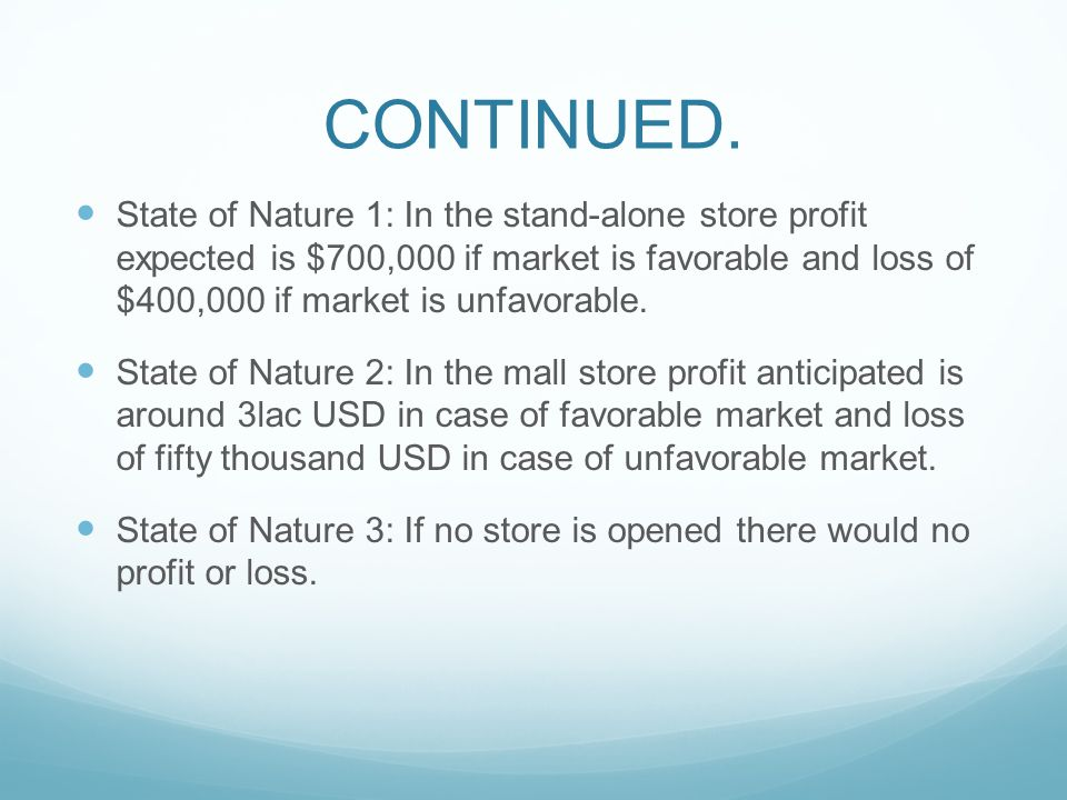 CONTINUED. State of Nature 1: In the stand-alone store profit expected is $700,000 if market is favorable and loss of $400,000 if market is unfavorabl