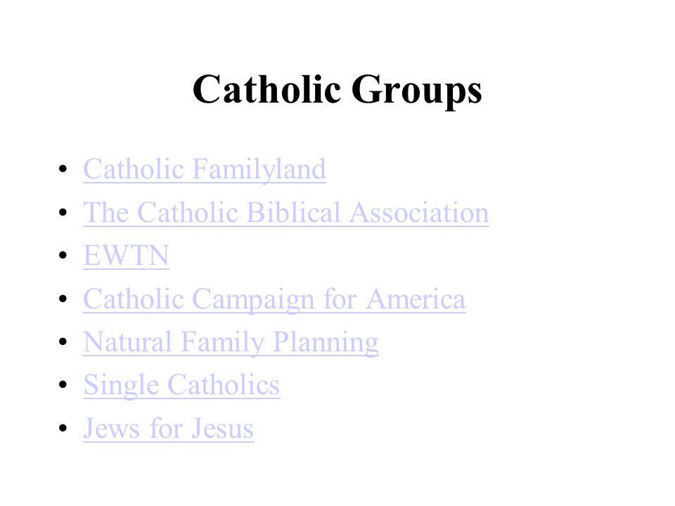 Catholic Groups Catholic Familyland The Catholic Biblical Association EWTN Catholic Campaign for America Natural Family Planning Single Catholics Jews for Jesus