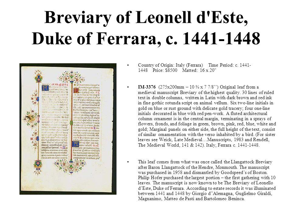 Breviary of Leonell d Este, Duke of Ferrara, c.