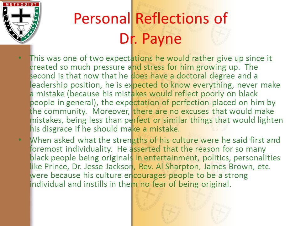 Personal Reflections of Dr.