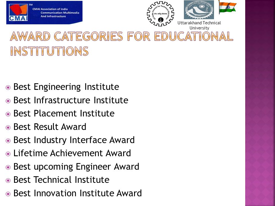  Best Engineering Institute  Best Infrastructure Institute  Best Placement Institute  Best Result Award  Best Industry Interface Award  Lifetime Achievement Award  Best upcoming Engineer Award  Best Technical Institute  Best Innovation Institute Award Uttarakhand Technical University