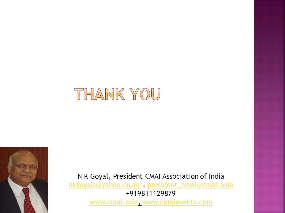 N K Goyal, President CMAI Association of India nkgoyals@yahoo.co.innkgoyals@yahoo.co.in : president_cmai@cmai.asiapresident_cmai@cmai.asia +919811129879 www.cmai.asiawww.cmai.asia, www.cmaievents.comwww.cmaievents.com
