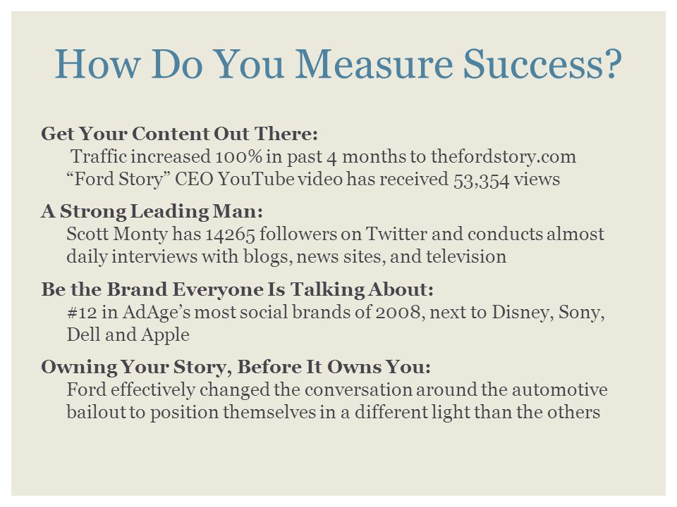 """How Do You Measure Success? Get Your Content Out There: Traffic increased 100% in past 4 months to thefordstory.com """"Ford Story"""" CEO YouTube video has"""