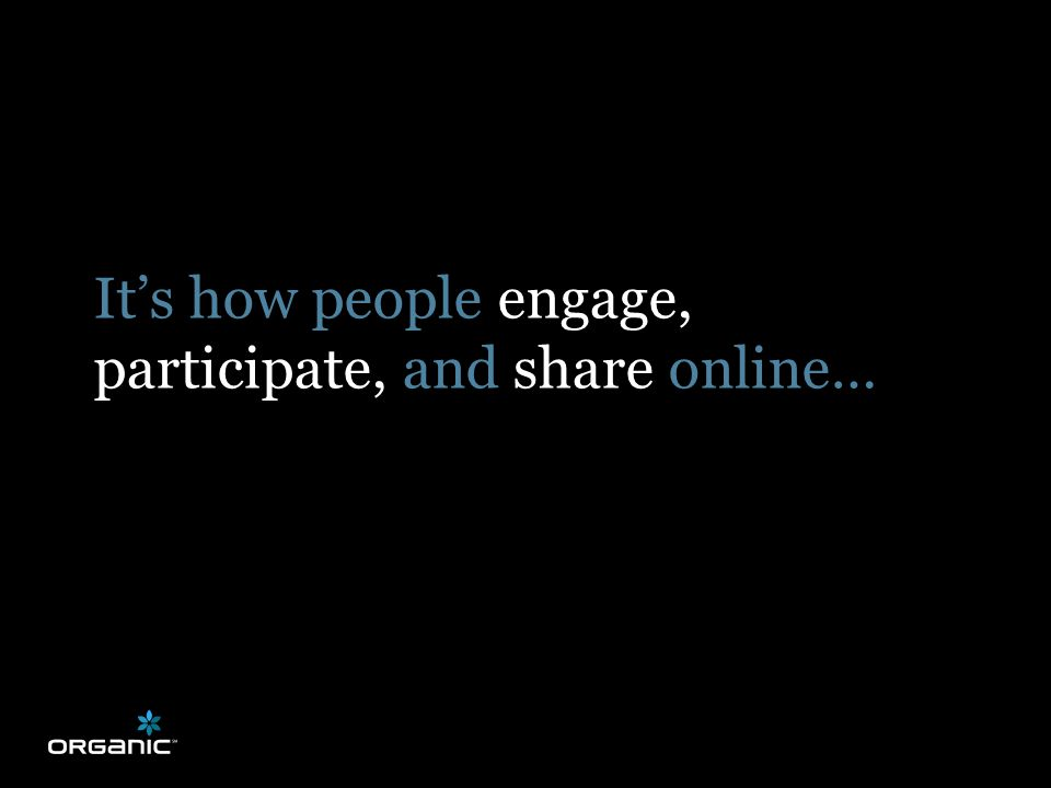 It's how people engage, participate, and share online…