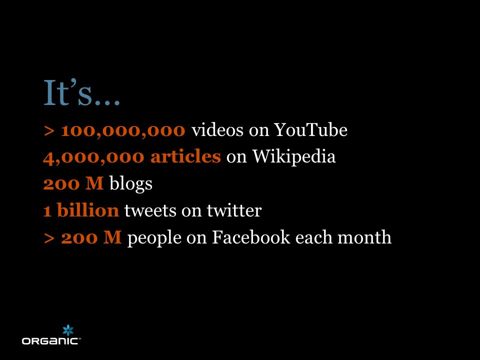 FROM HONEYMOON TO MARRIAGE It's… > 100,000,000 videos on YouTube 4,000,000 articles on Wikipedia 200 M blogs 1 billion tweets on twitter > 200 M people on Facebook each month