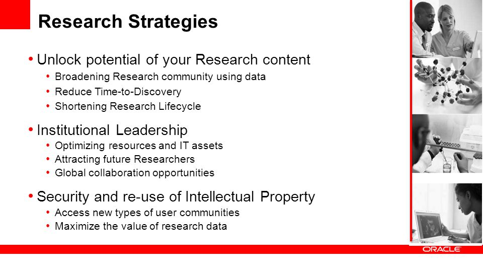 Research Strategies Unlock potential of your Research content Broadening Research community using data Reduce Time-to-Discovery Shortening Research Li