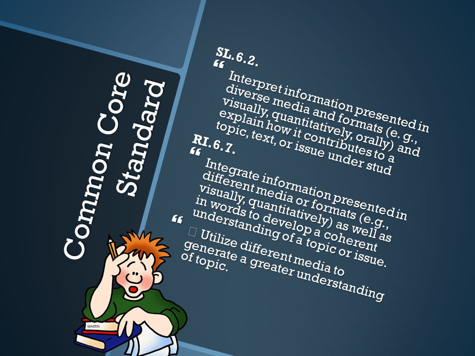 Common Core Standard SL.6.2.  Interpret information presented in diverse media and formats (e.