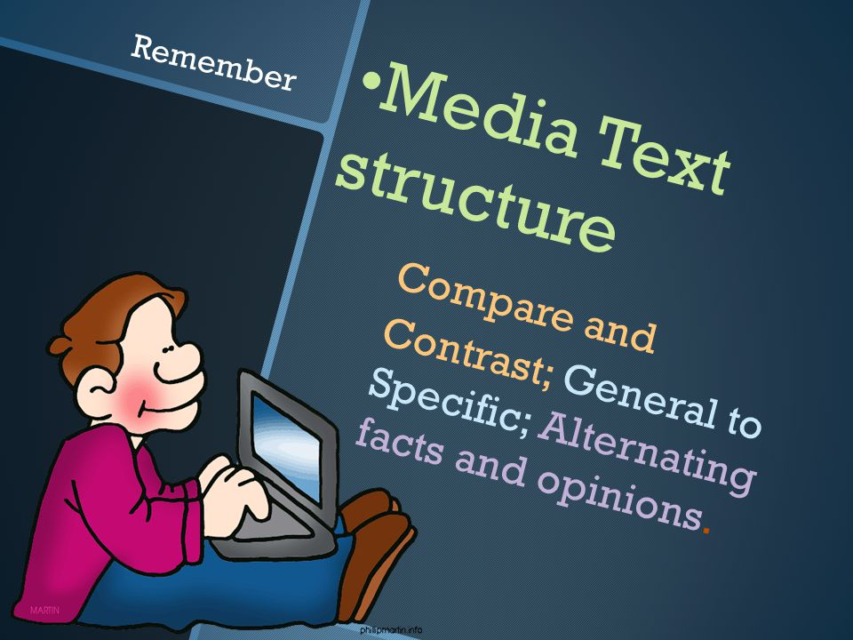 Media Text structure Compare and Contrast; General to Specific; Alternating facts and opinions.