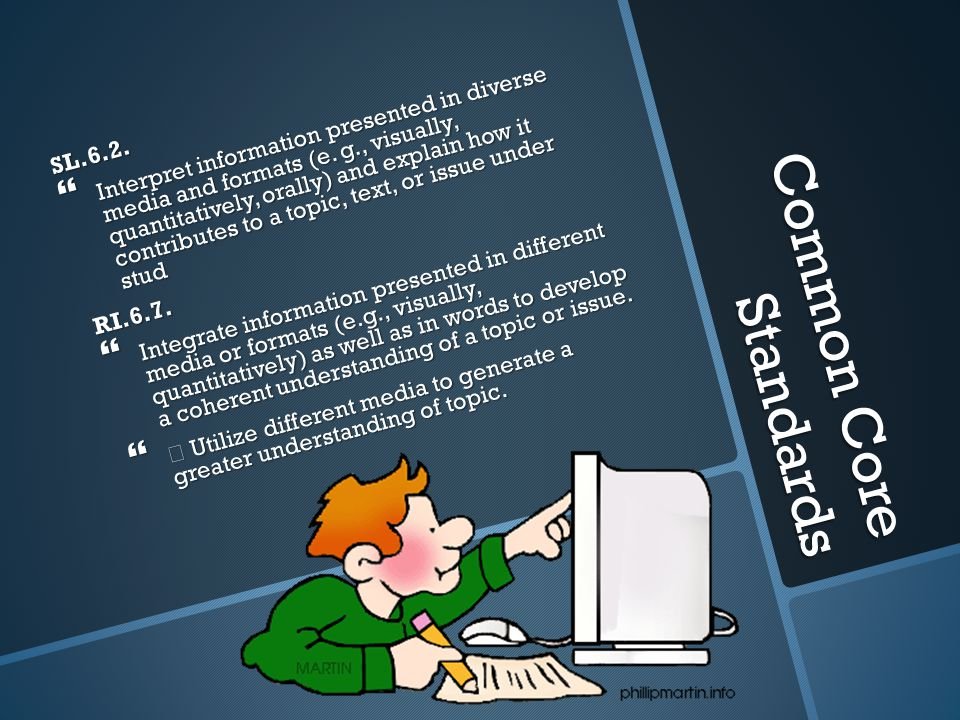 Common Core Standards SL.6.2.  Interpret information presented in diverse media and formats (e.