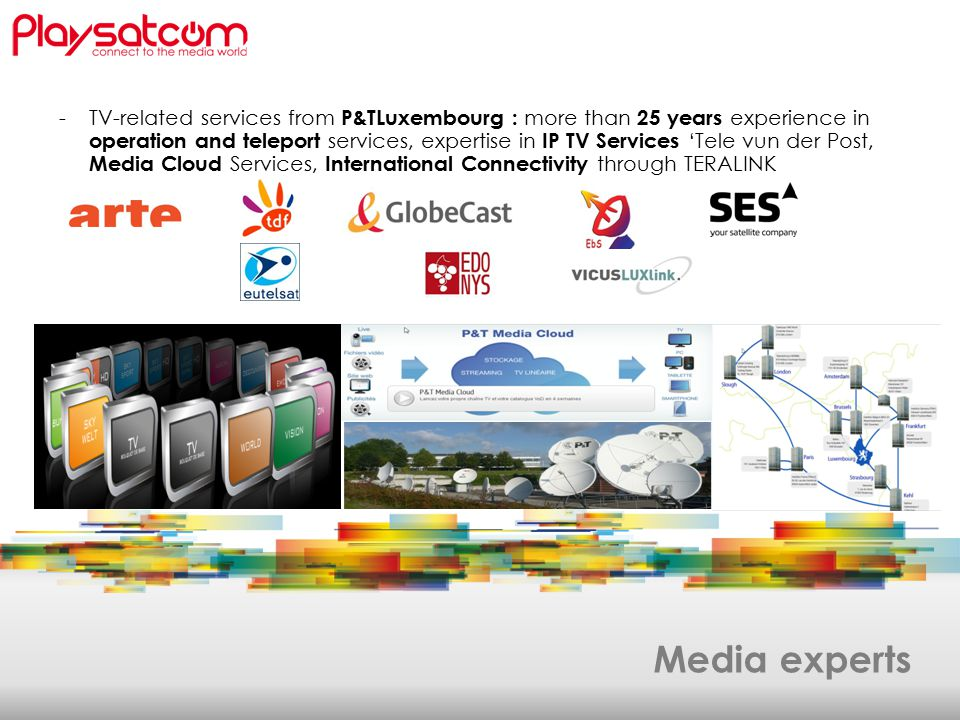 Media experts -TV-related services from P&TLuxembourg : more than 25 years experience in operation and teleport services, expertise in IP TV Services 'Tele vun der Post, Media Cloud Services, International Connectivity through TERALINK