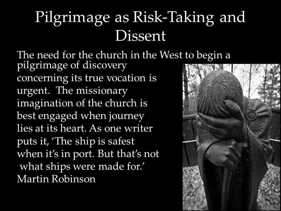 Pilgrimage as Risk-Taking and Dissent I dream of a missionary option , that is, a missionary impulse capable of transforming everything, so that the Church's customs, ways of doing things, times and schedules, language and structures can be suitably channelled for the evangelization of today's world rather than for her self-preservation.