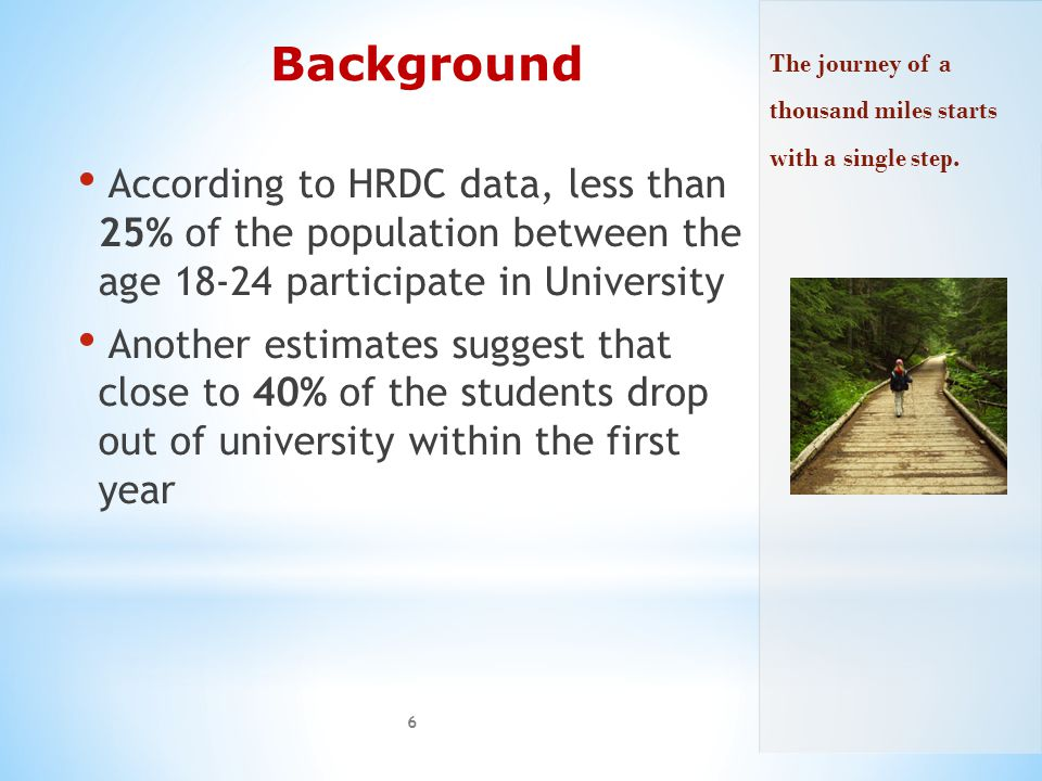 Background According to HRDC data, less than 25% of the population between the age 18-24 participate in University Another estimates suggest that close to 40% of the students drop out of university within the first year 6 The journey of a thousand miles starts with a single step.