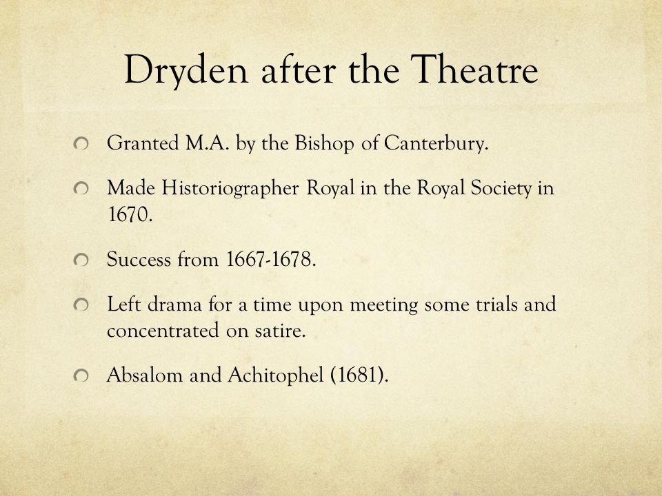 Dryden after the Theatre Granted M.A. by the Bishop of Canterbury.