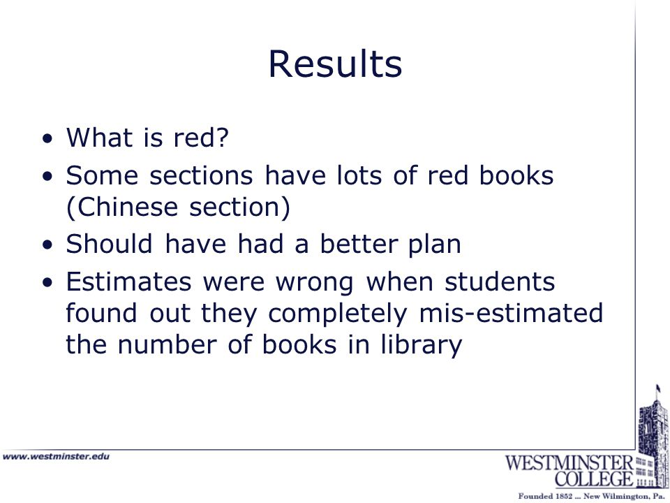 Results What is red? Some sections have lots of red books (Chinese section) Should have had a better plan Estimates were wrong when students found out