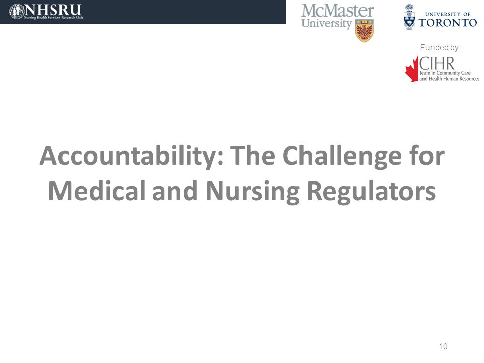 Funded by: Accountability: The Challenge for Medical and Nursing Regulators 10