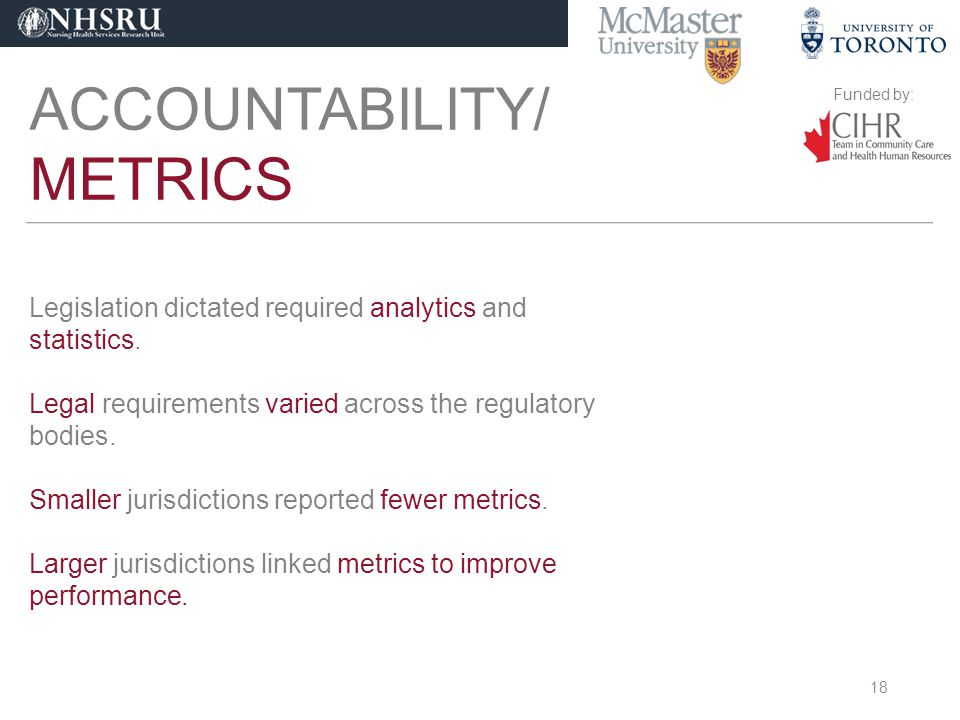 Funded by: ACCOUNTABILITY/ METRICS Legislation dictated required analytics and statistics.