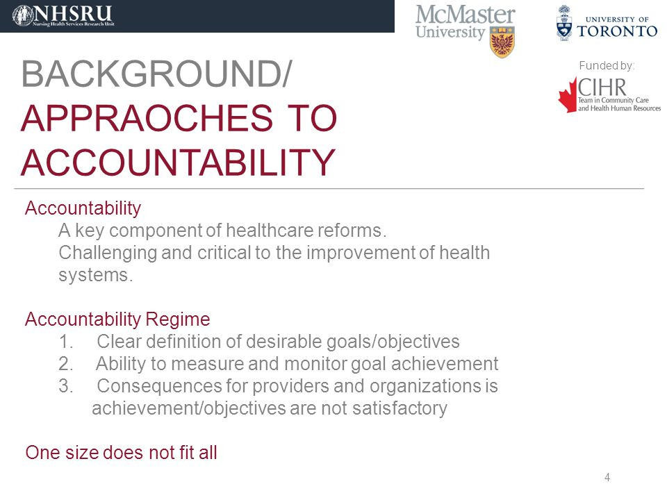 Funded by: BACKGROUND/ APPRAOCHES TO ACCOUNTABILITY Accountability A key component of healthcare reforms.
